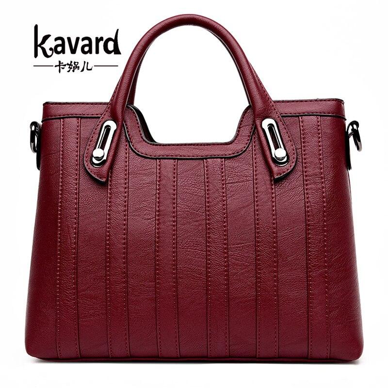 ФОТО Kavard Handbag Women Bags Handbags Women Famous Brands Casual Tote Fashion Thread Ladies Hand Bags Soft Pu Leather bolsos mujer