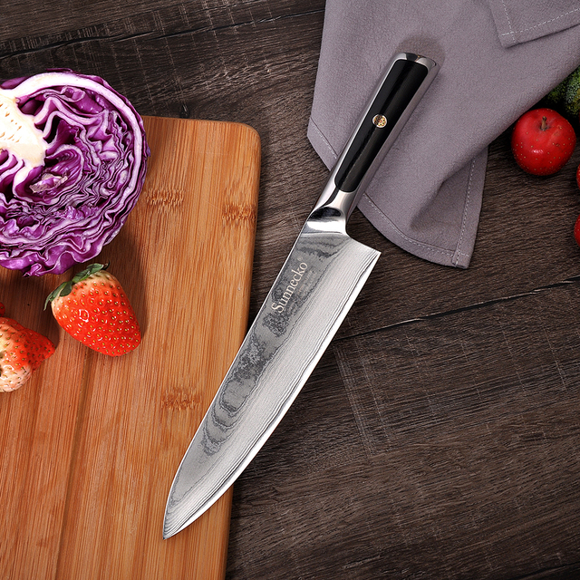 SUNNECKO Professional 8″ Damascus Steel Chef Knife Japanese VG10 Core Blade Razor Sharp Kitchen Knives G10 Handle Meat Slicer
