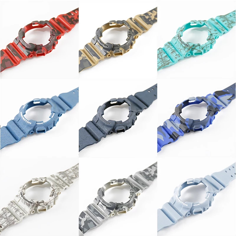 Mens Camouflage Resin Strap Watch Accessories with Buckle For CASIO G SHOCK GD120GA100GA110GA100 Mens Outdoor sports