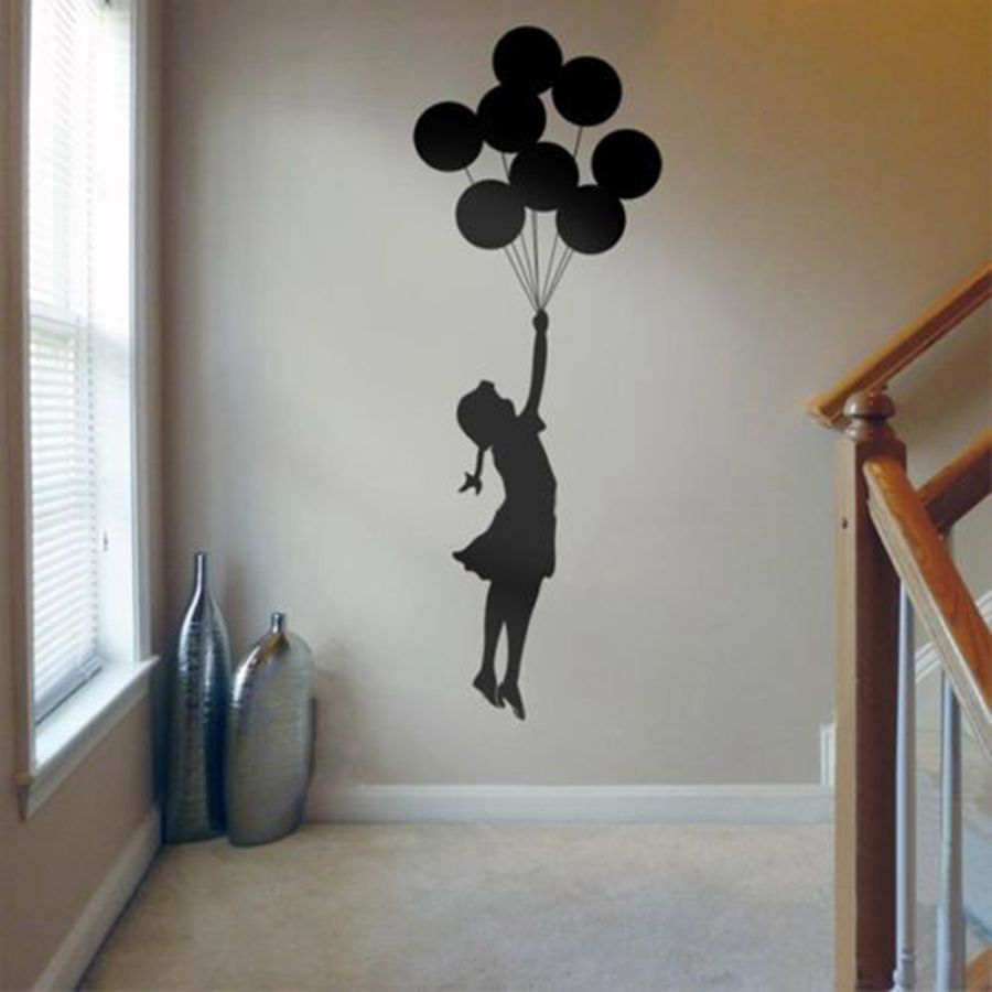 Graffiti wall vinyl - Banksy Wall Sticker Floating Balloon Girl Banksy Art Home Decor Vinyl Wall Decal Self Adhesive Graffiti