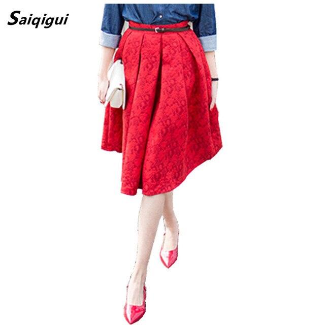 Saiqigui nuevas faldas de verano 2017 vintage falda de cintura alta work wear midi faldas para mujer de moda american apparel saias jupe femme