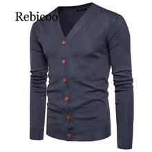 Men Button cardigans Sweaters 2019 New Casual Men solid Pullover V Collar Thick Cashmere sweater Outerwear Clothing button through solid outerwear