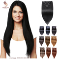 Color #1  Straight Clip in Human Hair Extensions Human Hair Clip In Extensions Jet Black  Platinum Remy Virgin Hair Clip In