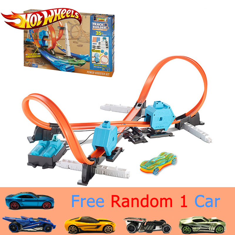 Hot Wheels Sport Cars 4 Style Track In 1 Children Toy Track Builder Power Booster Kit Carro De Brinquedo DGD30 Good Gift For Boy