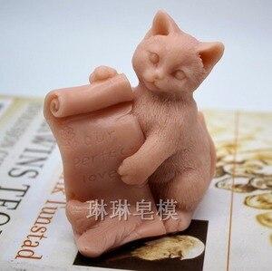 Grainrain 3D кошка ручной работы мыло форма силиконовая Свеча Воск Смола молд ручной работы