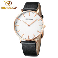 BINSSAW New Women Watches Ultra Thin Stainless Steel Luxury Brand Quartz Watch Delicate Business Real Leather