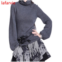 Lafarvie Off Sale Fashion Cashmere Blended Full Sleeve Scarf Collar Knitted Winter Autumn Sweater Women Pullover