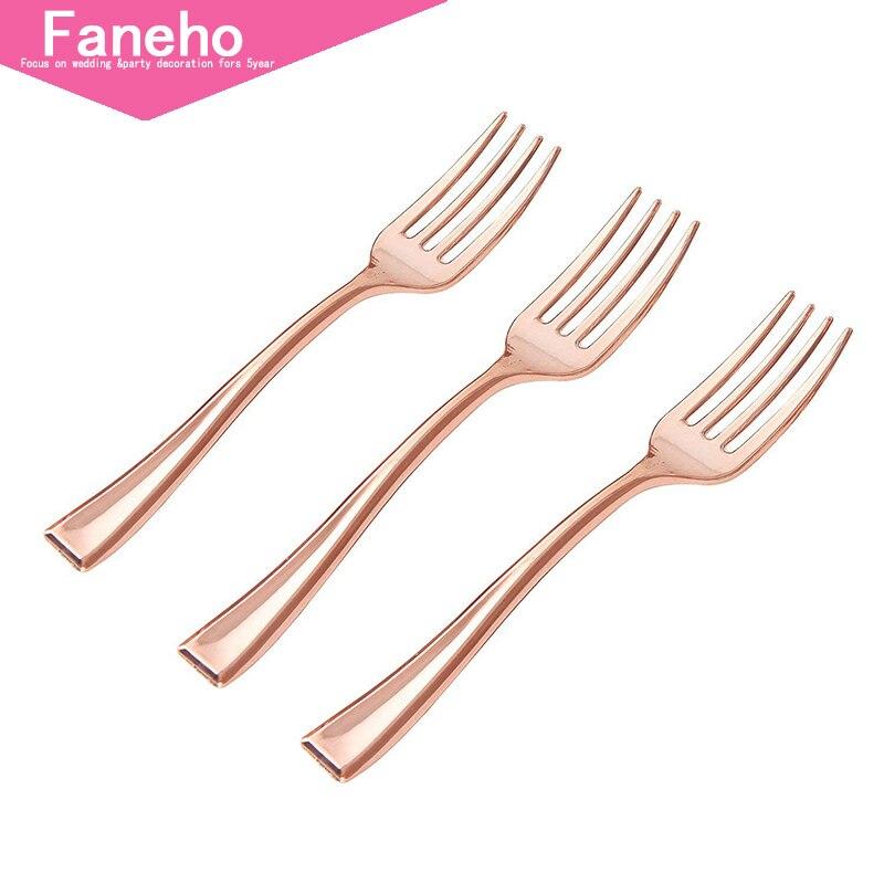 Mini fourchettes en plastique jetables 300 pièces 4 pouces | fourchettes en plastique or Rose | fourchettes de dégustation en plastique robustes | parfait