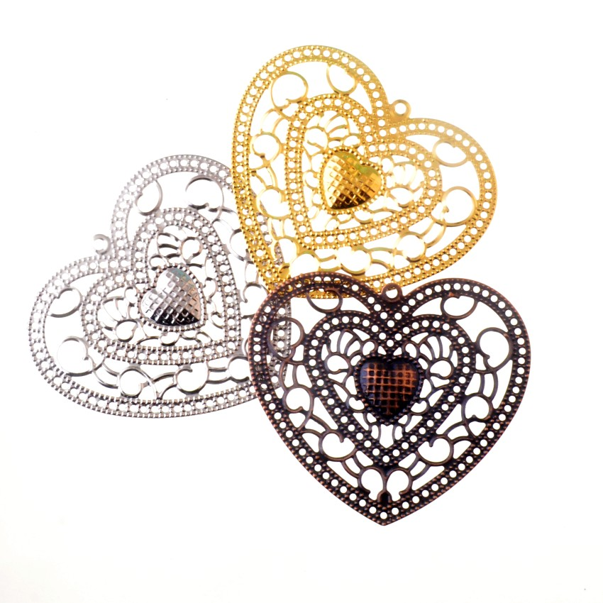 Free Shipping 5Pcs Antique Copper/Gold/silver Filigree Heart Wraps Metal Crafts Gift Decoration DIY Findings Connectors 65x58mm