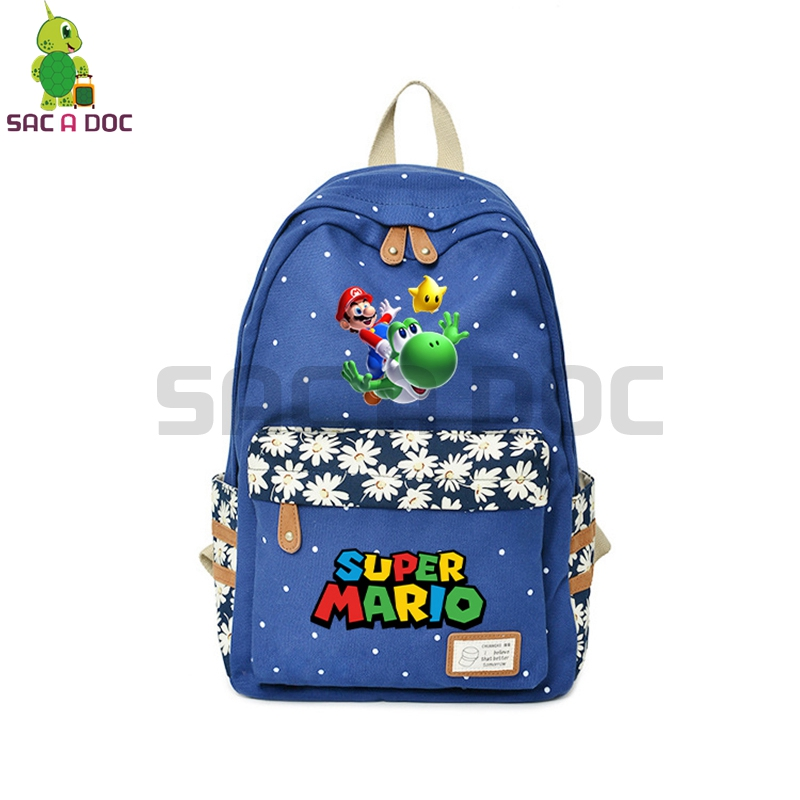 Catoon Super Mario Backpack Mario Yoshi Flower Wave Point School Bags for Teenage Girls Travel Bags Womens Daily Backpack Рюкзак