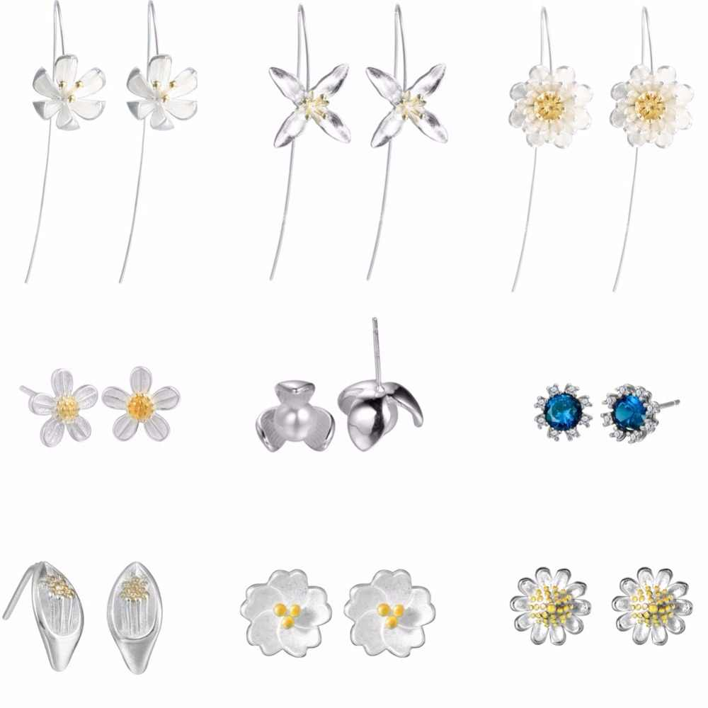 QIAMNI 925 Sterling Silver Trendy Elegant Shiny Daisy Lotus Flower Ginkgo Stud Earring For Friend Lover Birthday Gifts Women