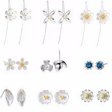QIAMNI 925 Sterling Silver Trendy Elegant Shiny Daisy Lotus