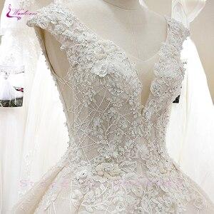 Image 5 - Waulizane V Yaka Of 3d Çiçekler Bir Çizgi düğün elbisesi Zarif Boncuk Etek Dantel Up gelinlik
