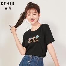 SEMIR Women's Embroidered T-shirt Longer at Back Women Print