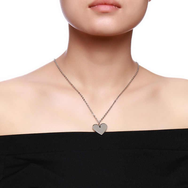 Meaeguet, персонализированное ожерелье из нержавеющей стали с сердечком ID, подвеска, свадебные украшения для женщин и мужчин, Бесплатная лазерная гравировка, воротник