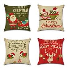 Christmas Pillow Case Animal Owl Elk Birds Printed Throw Pillow Cover Home Bedroom Office Chair Linen Pillowcase 45x45cm