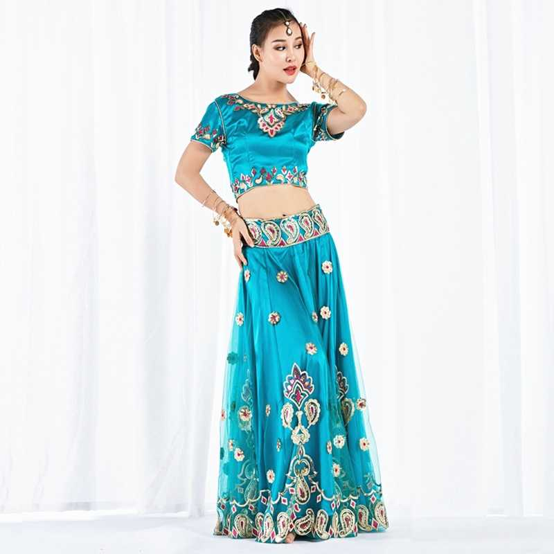 96ad9c5150 ... 2019 Dance Wear Performance Belly Dance Clothes Indian Dance  Embroidered Bollywood Costume 3pcs Set (Top ...