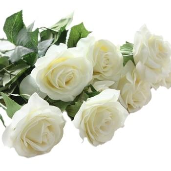 10 pcs Decor Rose Flores Artificiais Flores De Seda Real Toque de Látex Rosa Floral Bouquet Casamento Casa Festa de Design de Flores branco