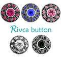 Rivca botão snap pulseiras para as mulheres 2017 chapeamento de prata antigo 18mm strass botão snap encantos pulseiras jóias d03294