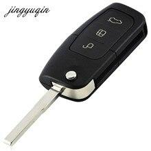Jingyuqin 3 bouton rabattable modifié non coupé voiture blanc clé coque télécommande Fob couverture pour Ford Focus Fiesta C Max Ka