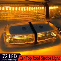 72LED 72W Car LED Short Long Row Roof Flashing Warning Light Strobe Police Light Ceiling Lamp DC 12V 24V For Car Fog Lamps