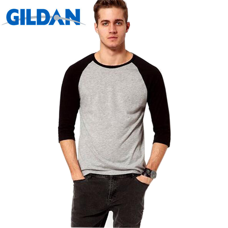 Gildan New Fashion Summer Autumn Men   T     Shirts   O-Neck 100% Cotton   T  -  Shirt   Men's Casual 3/4 Sleeve Tshirt Raglan Jersey   Shirt   Man