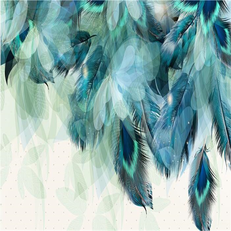 Купить с кэшбэком beibehang 3d wallpaper  papel de parede Fashion Retro Modern American Blue Feather Wallpaper Interior Home Decor hudas beauty
