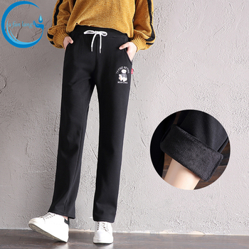 2018 Straight pants women's trousers slim slacks winter little bear Flannelette casual sports Hoodie  thick long pants show thin