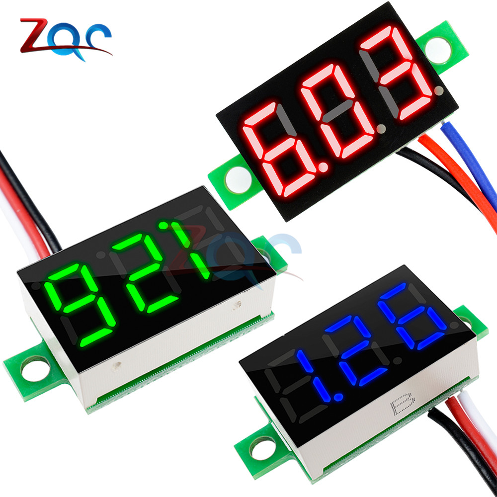 "0,36 Zoll 0,36 ""dc 0-30 V Super Mini Led Digital Auto Voltmeter Spannung Volt Panel Meter Batterie Monitor 3-digital 3 Drähte Farben"