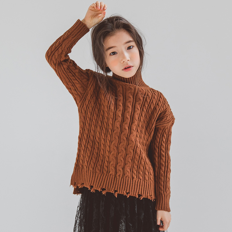 3-15Yrs Girls Sweaters Turtleneck Solid Baby Kids Sweaters Soft Warm Long Sleeve Cotton Winter Sweaters for Teens Girl CA476 pink solid color off shoulder crop bodycon sweaters vests
