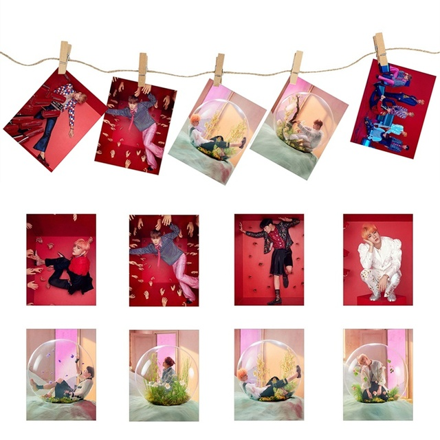 KPOP BTS LOVE YOURSELF Answer Photocard With Wooden clip hemp rope Album Transparent Photo Card