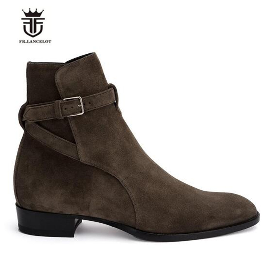 US $85.22 23% OFF|Handmade MID Calf Genuine Leather Suede Harmess Wyatt Buckle Strap Boots Men Luxury Handmade Dress C Boots in Chelsea Boots from