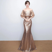 D008 ruffles neck off the shoulder floor length rose gold sequined dresses