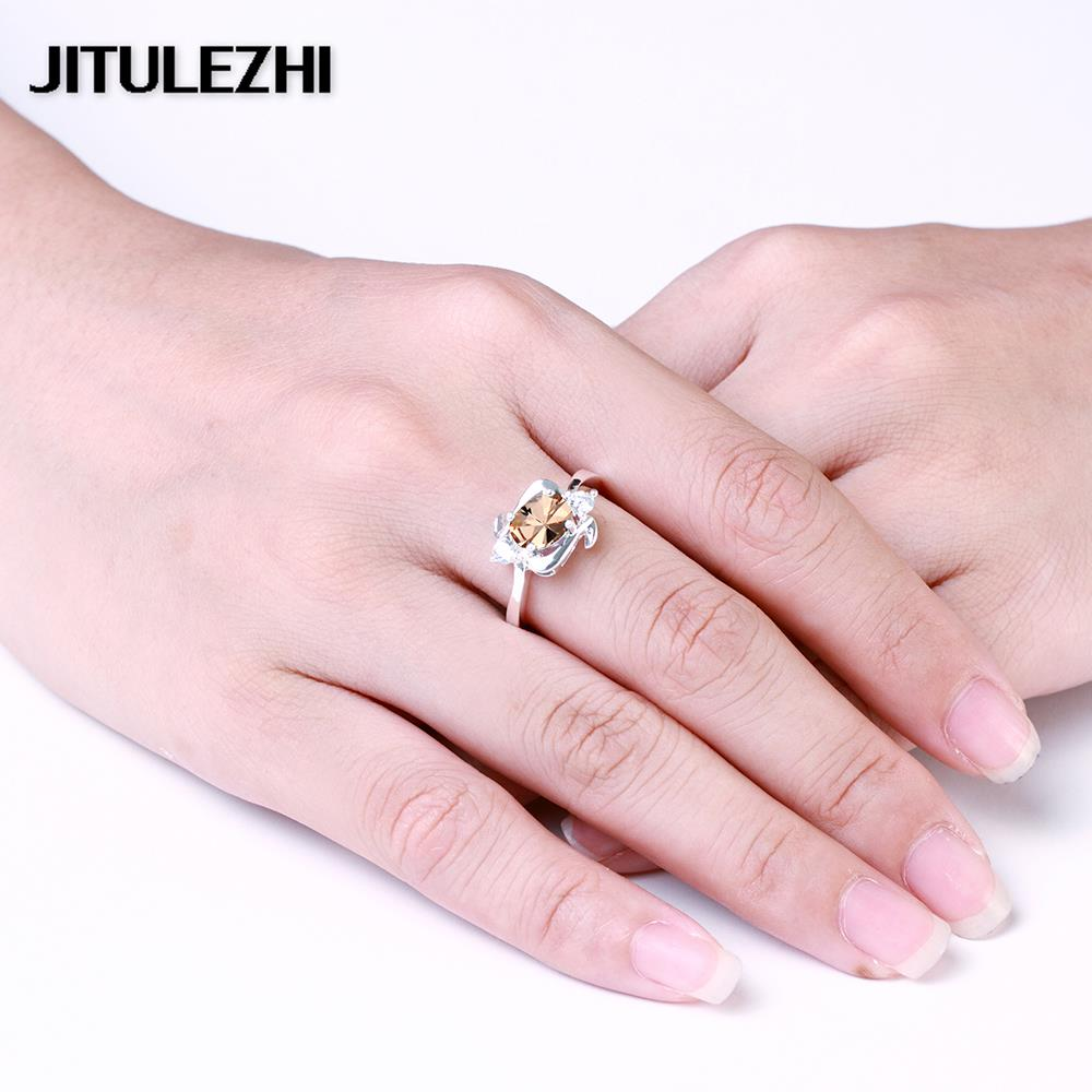 Silver plating crystal rings for female cubic zirconia jewelry ...