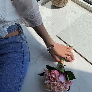 Женский браслет-цепочка HUANZHI, с имитацией жемчуга в стиле барокко, с золотыми металлическими звеньями, лето 2019