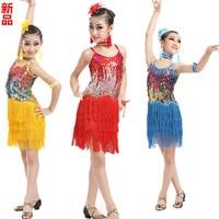 The New Children S Latin Dance Clothing Latin Latin Girl Sequins Tassel Skirt Dress Costume Contest
