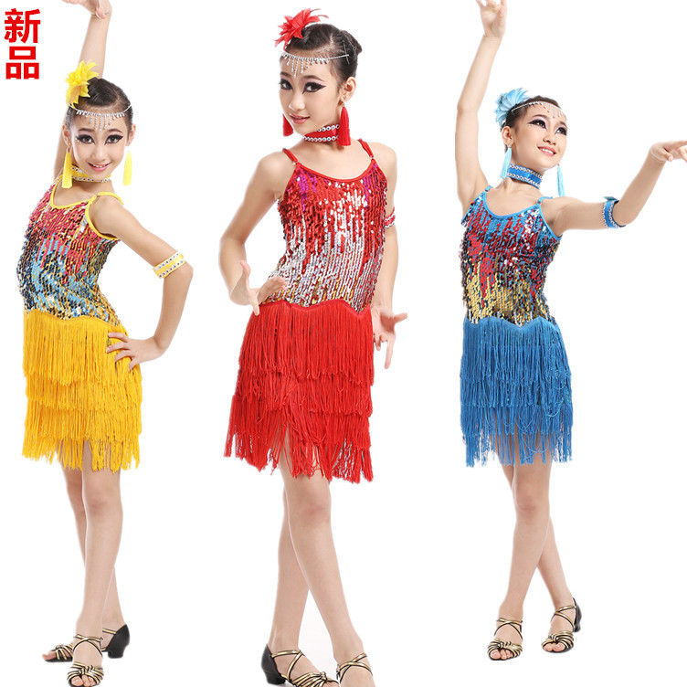 110-160CM The new children's Latin dance clothing Latin Latin girl sequins tassel Skirt Dress Costume Contest competition dress