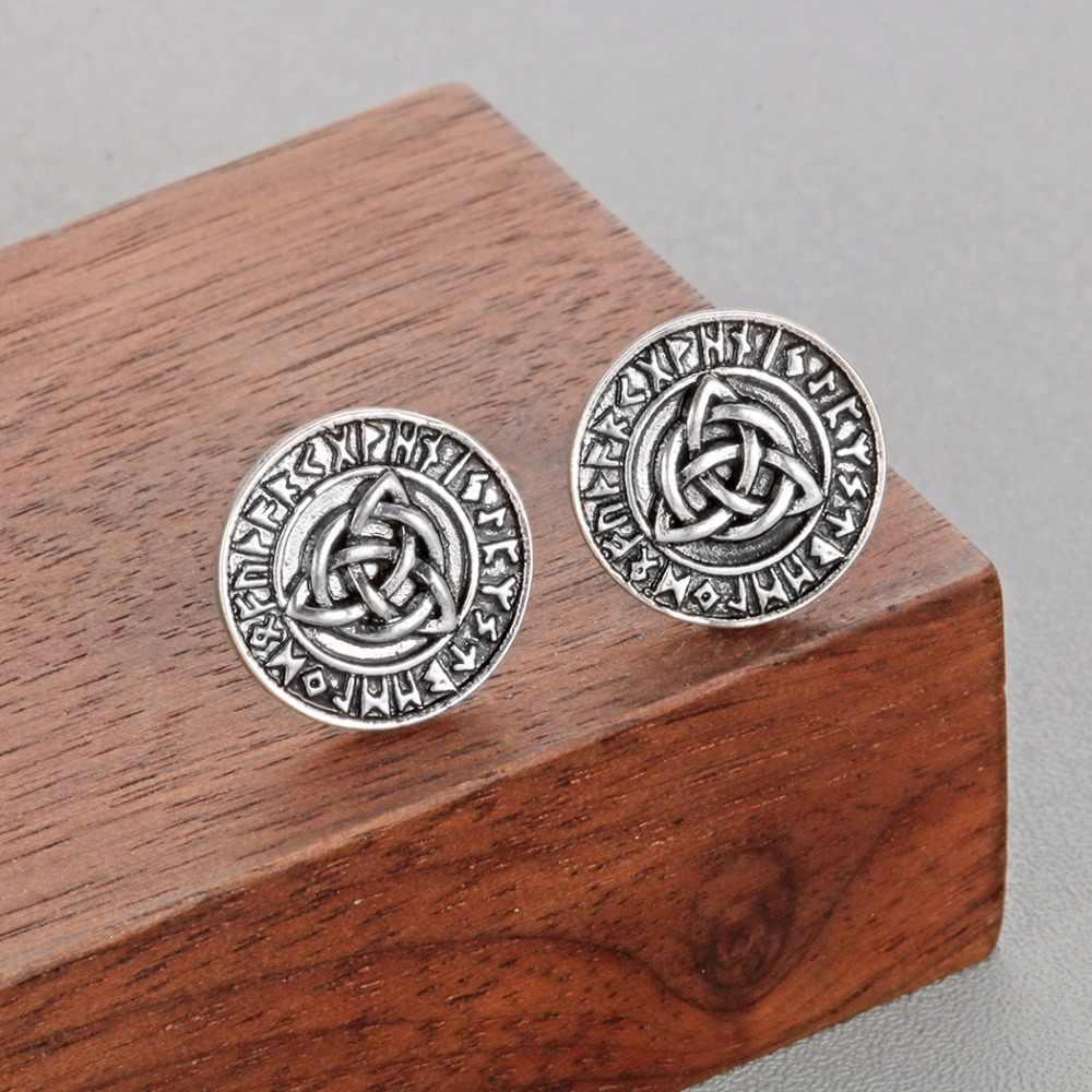 QIMING nody Runes мужские серьги женские амулет викинга античное серебро бойфренд подарок символ Трикветр женские серьги Femme