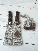 Baby Beanies,baby Stocking Hat,Baby overalls,New Handmade 100% Cotton Knit Crochet Baby Hats & Pants Newborn crochet Photo Prop