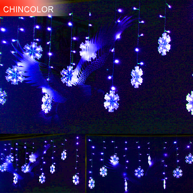 3M 132LEDS Holiday lights 17cm Snowflake modeling Led Light string EU Plug Xmas Garland christmas fairy Wedding decoration DA