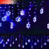 3M 132LEDS Holiday lights 17cm Snowflake modeling Led Light string EU Plug Xmas Garland christmas fairy Wedding decoration DA