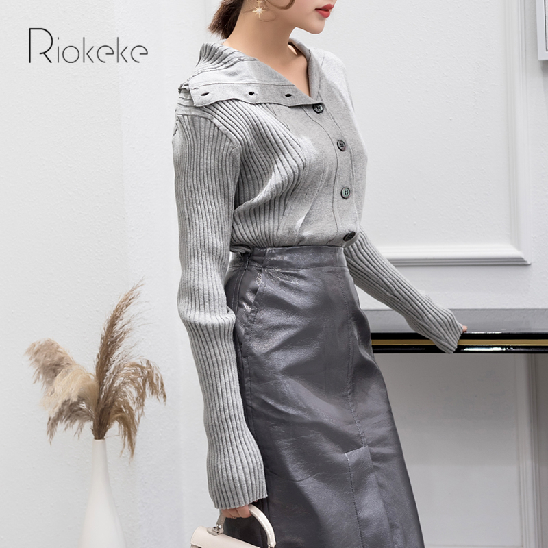 À Automne Col Manches Irrégulière Cardigan Longues Grey 2018 New Style Light Jersey Coffee Femmes Femme V Poitrine light Riokeke Chandail Tricoté Unique 0xzv0