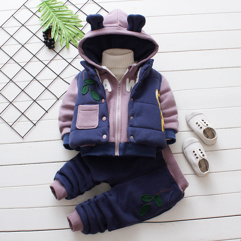 2018 Velvet Warm Baby Clothes Set Baby Boy Clothing Suit Winter Cartoon Dear Hooded Outfits Set for Girl Autumn Sets baby girl clothes baby winter suit spring and autumn warm baby boy clothes newborn fashion cotton clothes two sets of underwear