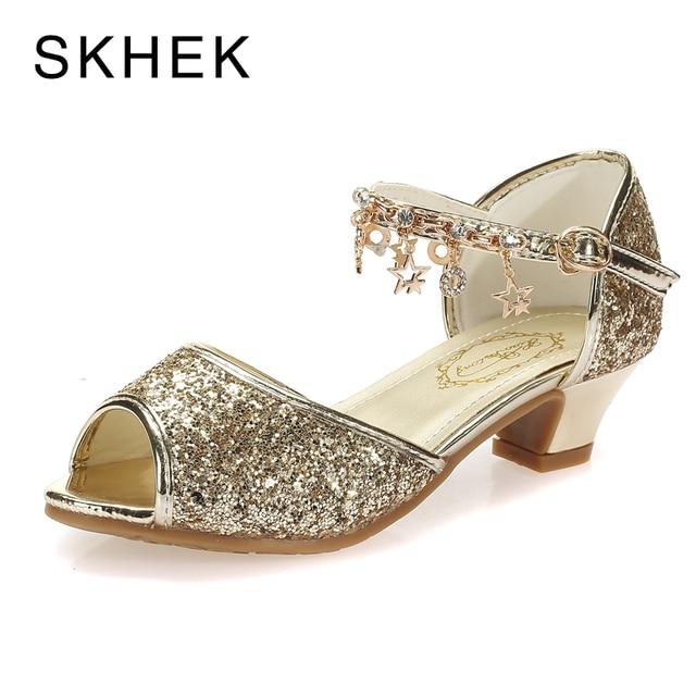 SKHEK ורוד בנות סנדלי ילדים ילדי אופנה נעלי העקב גבוה יהלומים מלאכותיים זהב עבור סנדלי בנות גודל 28-37