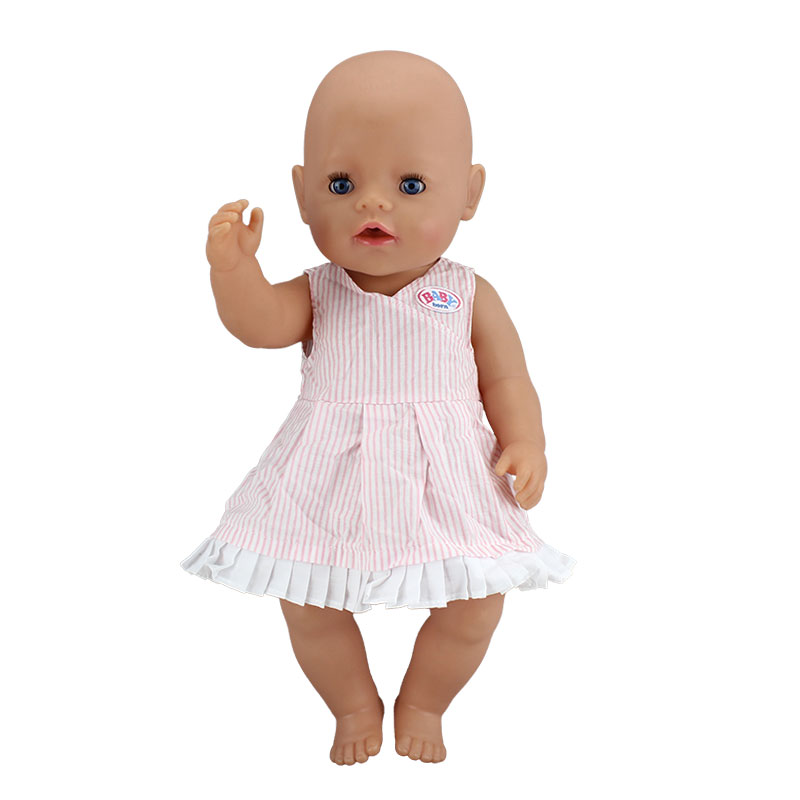 Grid Dress Doll Clothes Wear fit 43cm Baby Born zapf, Children best Birthday Gift(only sell clothes) christmas sweaters pant doll clothes wear fit 43cm baby born zapf 18 american girl doll clothes children best birthday gift
