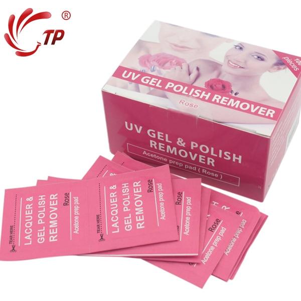 100pcs Box Easily Remove Uv Soak Off Gel Nail Polish Remover Pads Rose Flavor