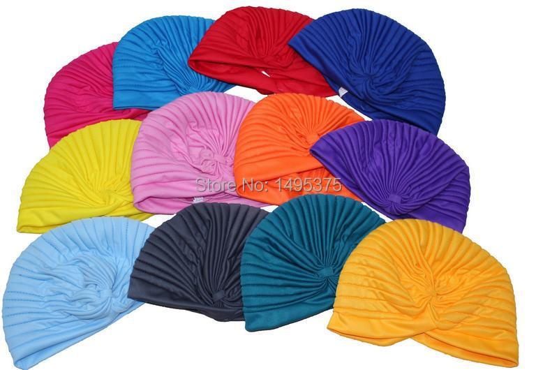 120pcs lot Stretchy Turban Head Wrap Band Sleep Hat Chemo Bandana Pleated Indian Turban hat