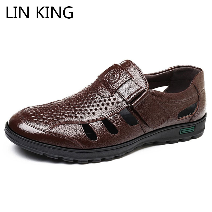 LIN KING Big Size 48 Hollow Out Men Genuine Leather Sandals Man Outdoor Casual Shoes Breathable Fisherman Shoes Men Beach Shoes