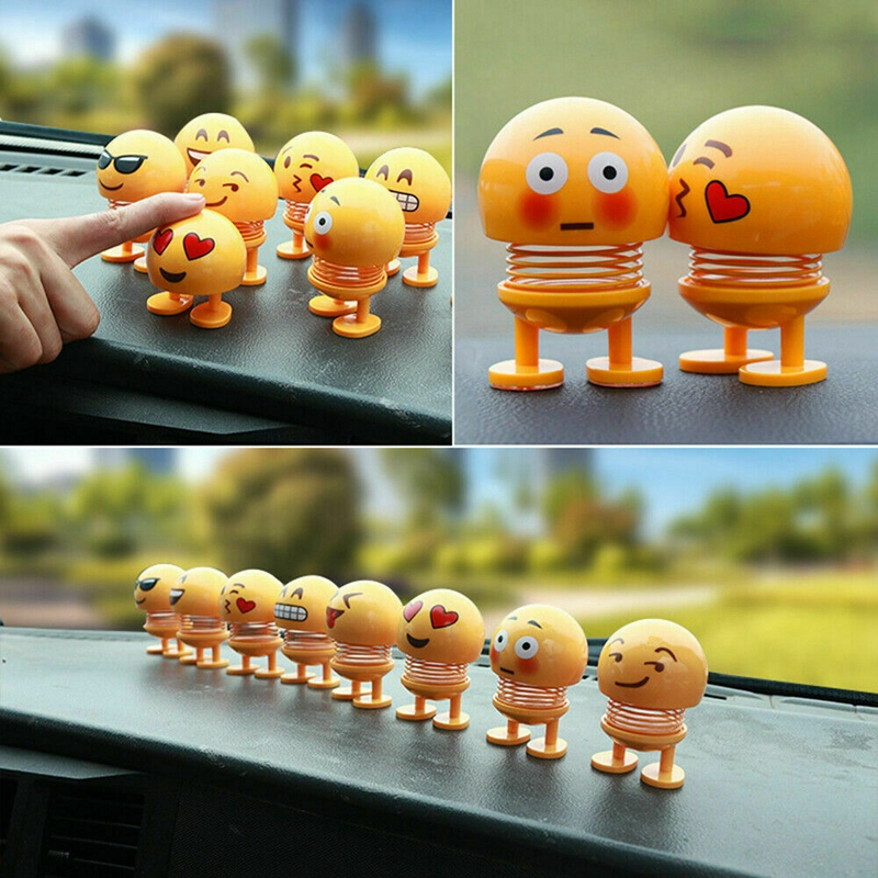 Shaking Head Doll Car Accessories Funny Spring Toy Interior Accessories Emoji Car Decoration