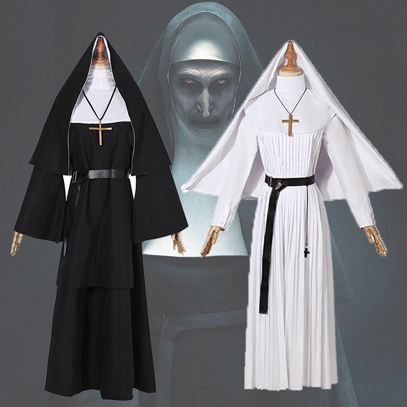 Adult Halloween Carnival Costumes The Virgin Mary Costume Cosplay Sexy Catholic Nun Robes Clothing Headscarf Cross Suit